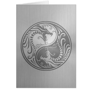 Stainless Steel Yin Yang Dragons Card