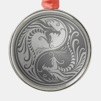 Stainless Steel Yin Yang Dragons Christmas Ornament