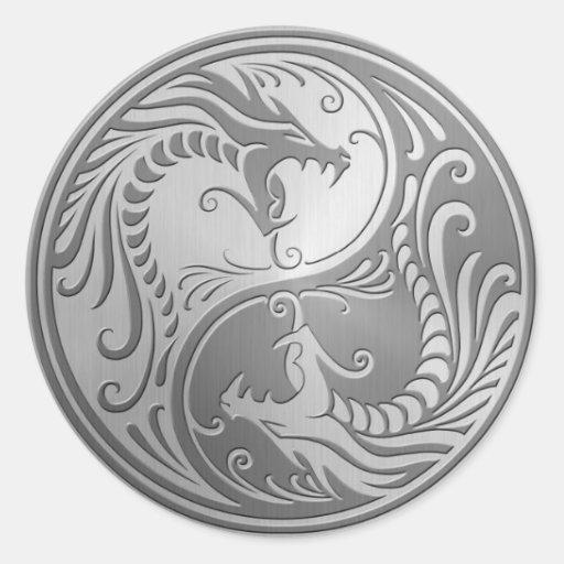Stainless Steel Yin Yang Dragons Sticker