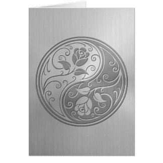 Stainless Steel Yin Yang Roses Greeting Card