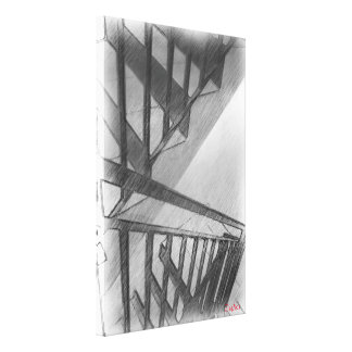 Stair drawing canvas print