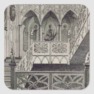 Staircase at Strawberry Hill, engraved by J. Newto Sticker