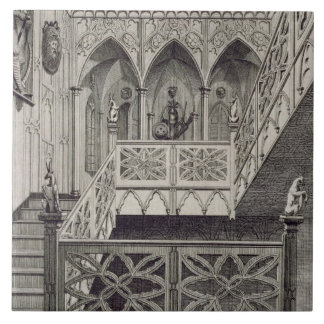 Staircase at Strawberry Hill, engraved by J. Newto Tile