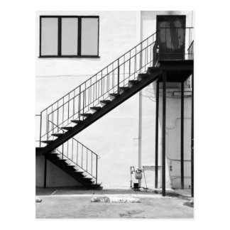 Staircase in Black and White Postcard