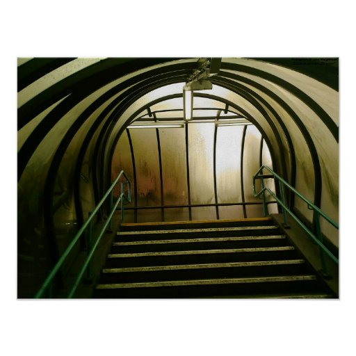 Stairs in Pedestrian Tunnel, Manchester, UK Poster