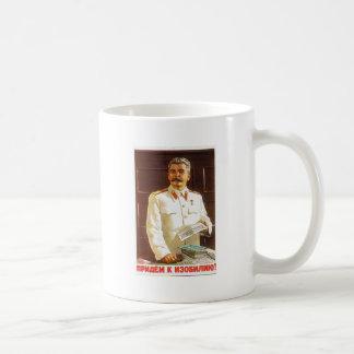 stalin poster art basic white mug