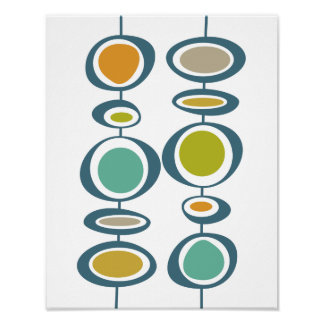 Stalk Circles Mid Century Modern Styled Poster