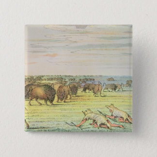Stalking buffalo 15 cm square badge