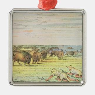 Stalking buffalo Silver-Colored square decoration