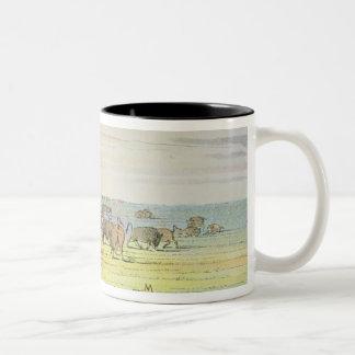 Stalking buffalo Two-Tone coffee mug