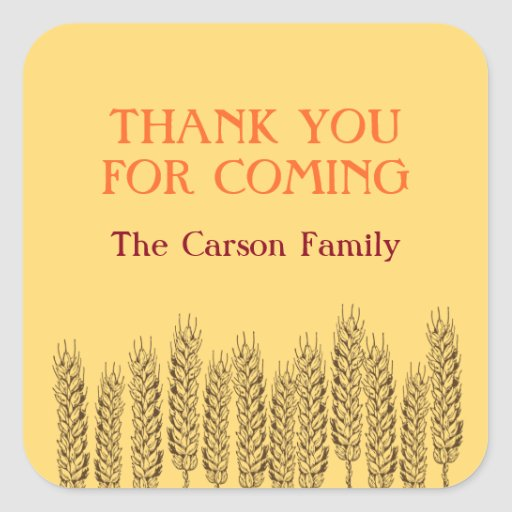 Stalks of wheats natural yellow field Thanksgiving Square Sticker