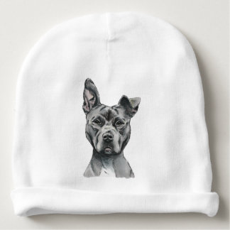 Stalky Pit Bull Dog Drawing Baby Beanie