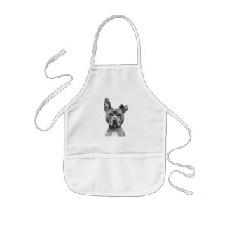 Stalky Pit Bull Dog Drawing Kids Apron