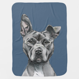 Stalky Pit Bull Dog Drawing Receiving Blankets