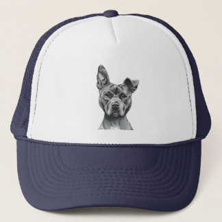 Stalky Pit Bull Dog Drawing Trucker Hat
