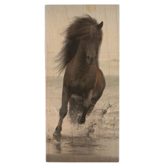 Stallion Running On Beach | North Atlantic Wood USB Flash Drive