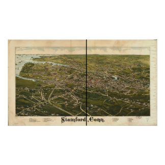 Stamford Connecticut 1883 Antique Panoramic Map Posters