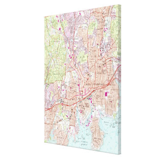 Stamford Connecticut Map (1987) Canvas Print