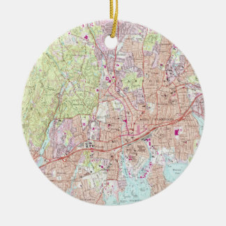 Stamford Connecticut Map (1987) Christmas Ornament