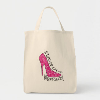 Stamp Out Breast Cancer Grocery Tote Bag