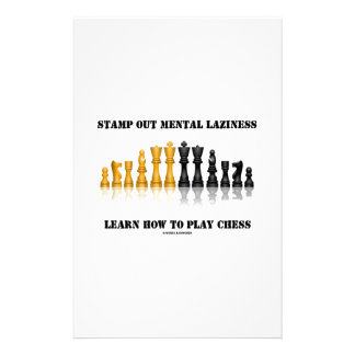 Stamp Out Mental Laziness Learn How To Play Chess Custom Stationery