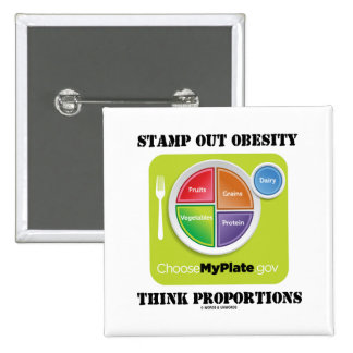 Stamp Out Obesity Think Proportions (MyPlate) 15 Cm Square Badge