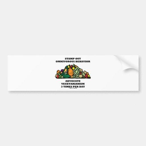 Stamp Out Omnivorous Behavior Advocate Vegetarian Bumper Sticker