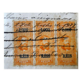 Stamp-themed postcard