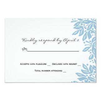 Stamped Floral Wedding Blue RSVP 9 Cm X 13 Cm Invitation Card