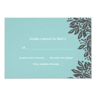 Stamped Floral Wedding Gray RSVP 9 Cm X 13 Cm Invitation Card