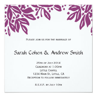 Stamped Floral Wedding Magenta Invite