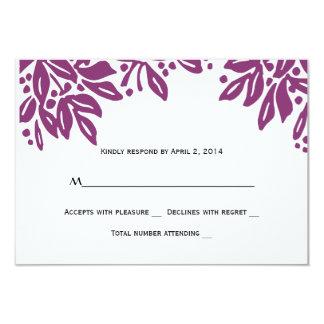 Stamped Floral Wedding Magenta RSVP 9 Cm X 13 Cm Invitation Card