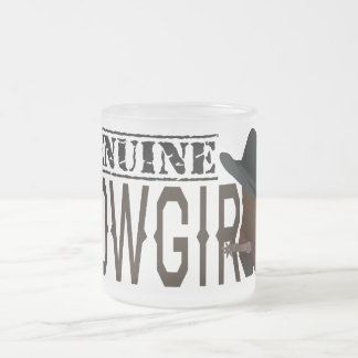 Stamped GENUINE Cowgirl with Boot & Hat Frosted Glass Mug
