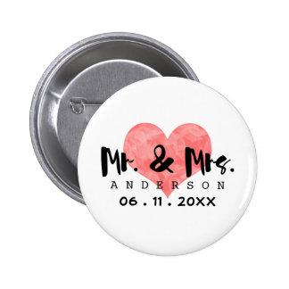Stamped Heart Mr & Mrs Wedding Date 6 Cm Round Badge