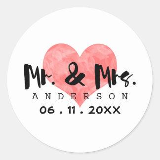 Stamped Heart Mr & Mrs Wedding Date Round Sticker