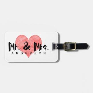 Stamped Heart Rustic Mr & Mrs Monogram Luggage Tag