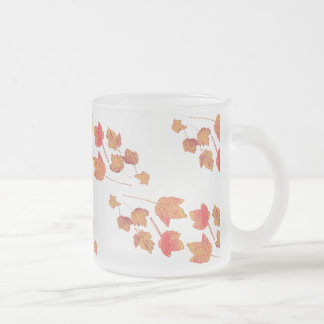 Stamped Maple Leaves Frosty Frosted Glass Coffee Mug