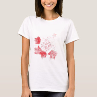 Stamped Red Maple Leaves Womens T-Shirt