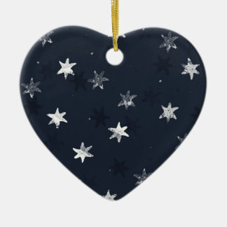Stamped Star Ceramic Heart Decoration