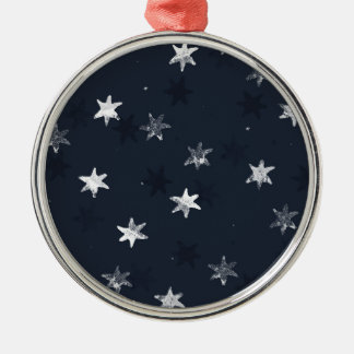 Stamped Star Silver-Colored Round Decoration