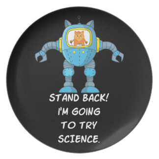 Stand Back Going To Try Science Funny Robot Cat Plate