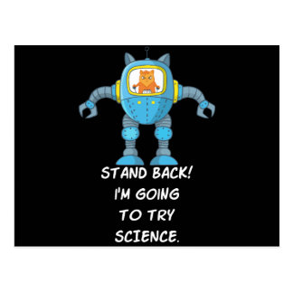 Stand Back Going To Try Science Funny Robot Cat Postcard