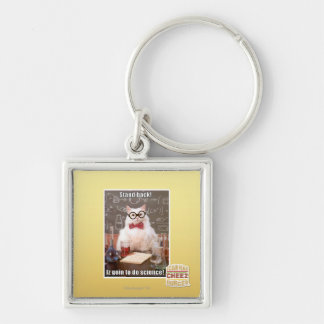 Stand back! Silver-Colored square key ring
