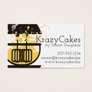 Stand mixer cake batter splatter bakery baking business card