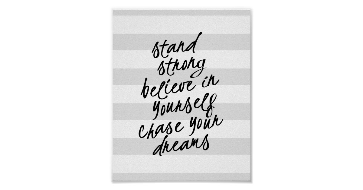 Stand strong be yourself motivational quote print zazzle co uk