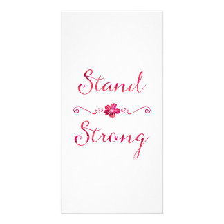 Stand Strong Inspirational Strength Pink Quote Personalized Photo Card