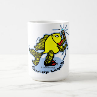 Stand-Up Fish funny comic cartoon Basic White Mug