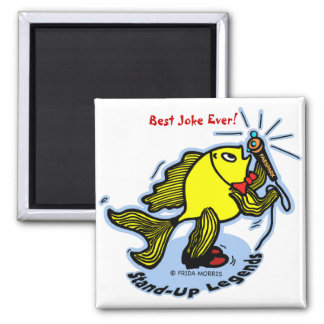 Stand-Up Fish funny comic cartoon Square Magnet
