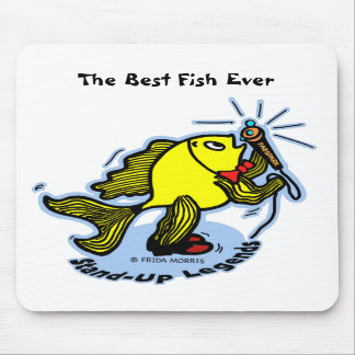 Stand-Up Fish funny comic cartoon Mousepad