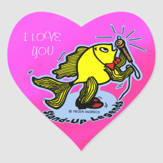 Stand-Up Fish funny comic cartoon Heart Sticker